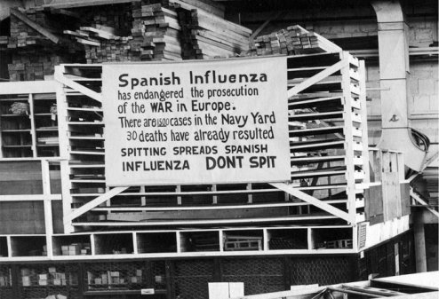 spanish flu don't spit sign